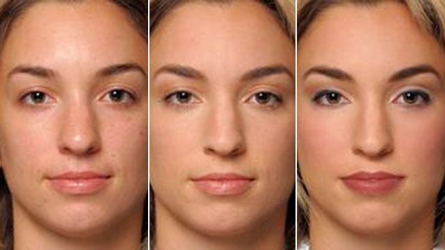 PHOTO:Composite photo of woman in various states of face makeup