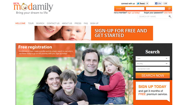 PHOTO: Shown in this screenshot image, the Modamily.com website allows couples who want to have kids, but not sex or romance, to meet and co-parent.