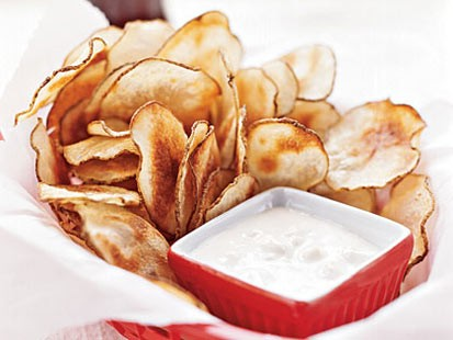 PHOTO: MyRecipes potato chips with blue cheese sauce are shown here.