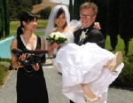 "PHOTO: Steven and Sandy on their wedding day with Debbie Lum, director of the PBS film, ""Seeking Asian Female."""