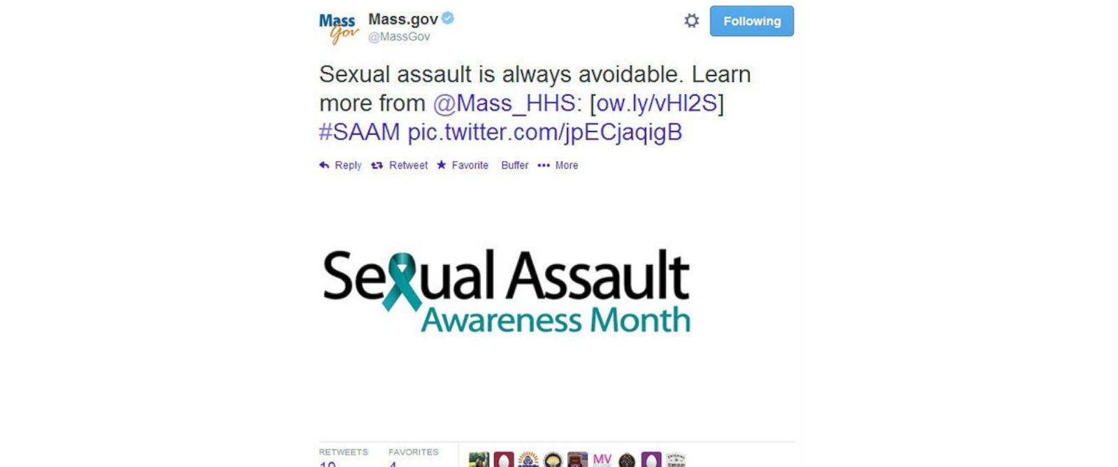 PHOTO: Massachusetts government Twitter account tweeted this message April 30, 2014 and quickly took it down.