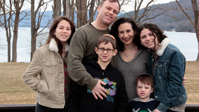 PHOTO: Devorah Schochet, with her husband and children, has struggled to rebuild her storm-damaged home and now is dealing with a fatal ALS diagnosis.