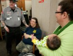 PHOTO: Mike and Linda Ackley of Jackson, left, visit with people at the Jackson County Courthouse on Feb. 11, 2013. Linda, who gave birth to the over ten-pound girl, found out the morning of Feb. 8 that she was pregnant and gave birth that evening.