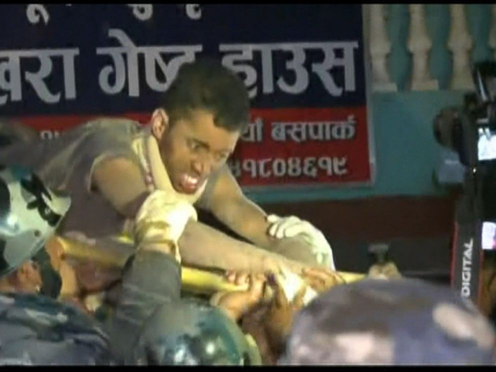 VIDEO: Rishi Kanal was pulled from inside a partially collapsed building in Kathmandu after being trapped for days following the earthquake.