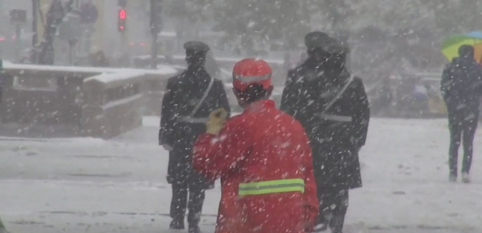 VIDEO: A rare, early snowstorm blanketed the Chinese capital this weekend.