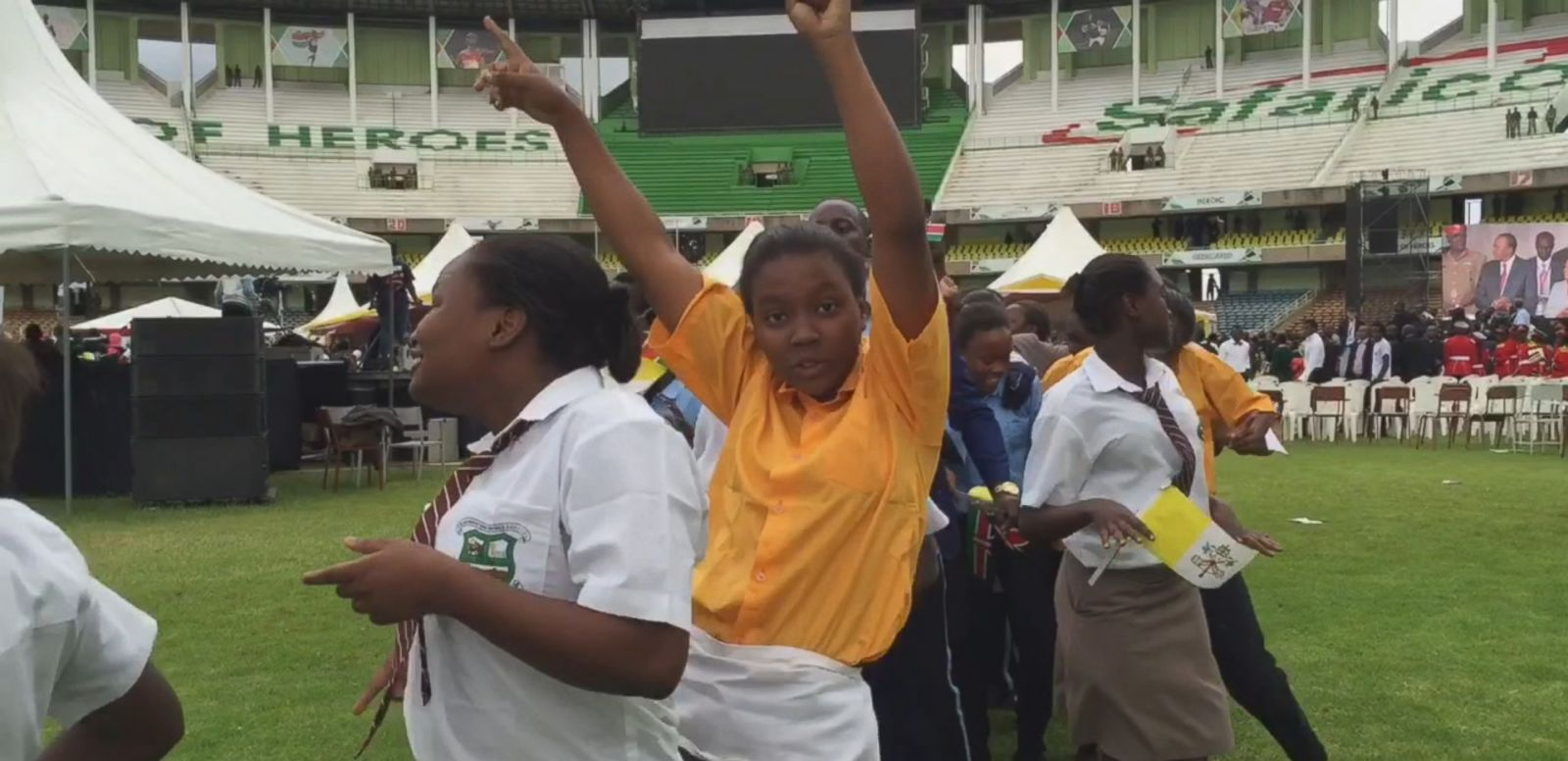 VIDEO: Thousands of excited Catholic school kids filled Kasarani Stadium in Kenya's capital city.