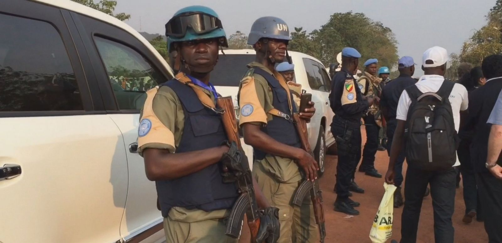 VIDEO: U.N. peacekeepers are on patrol with AK-47 rifles during the pontiff's visit.