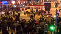 VIDEO: Violent clashes erupted overnight in Hong Kong after protesters defended unlicensed food vendors, set up for Chinese New Year celebrations, from being shut down by police.