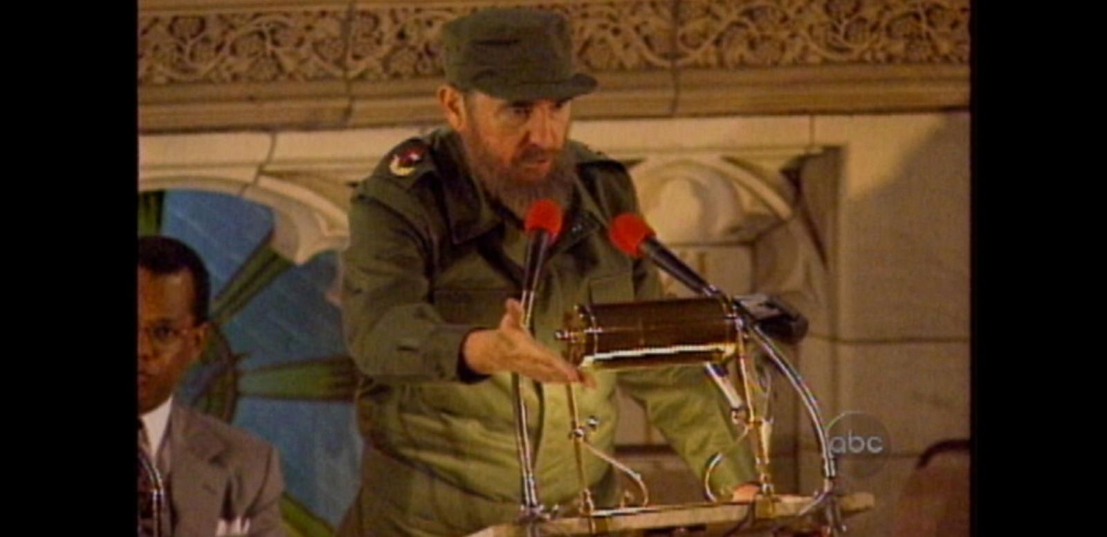 VIDEO: Oct. 23, 1995: The Cuban leader speaks to a crowd in Harlem during his U.S. visit.