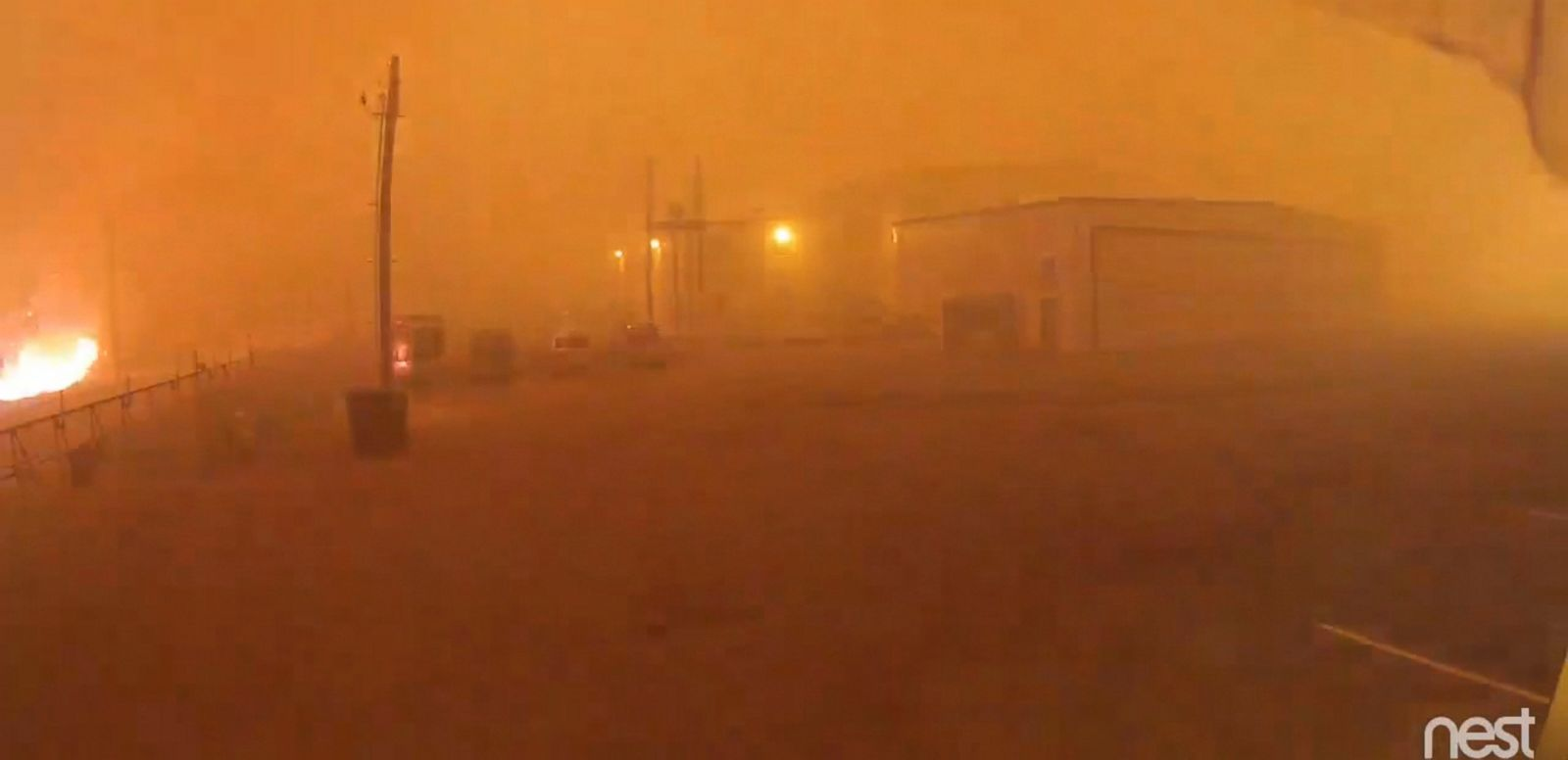 VIDEO: Video shows flames and smoke moving through a hangar in Fort McMurray, Alberta.