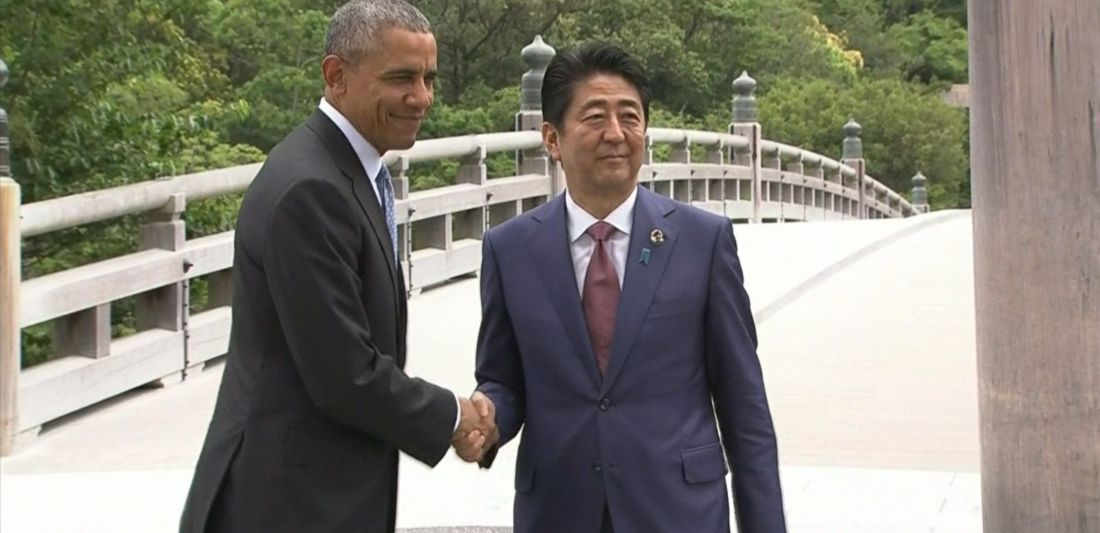 VIDEO: The president and prime minister strolled through the Ise-Jingu Shrine before meeting with other G7 leaders. The world leaders used shovels to plant trees on the grounds of the holy site.