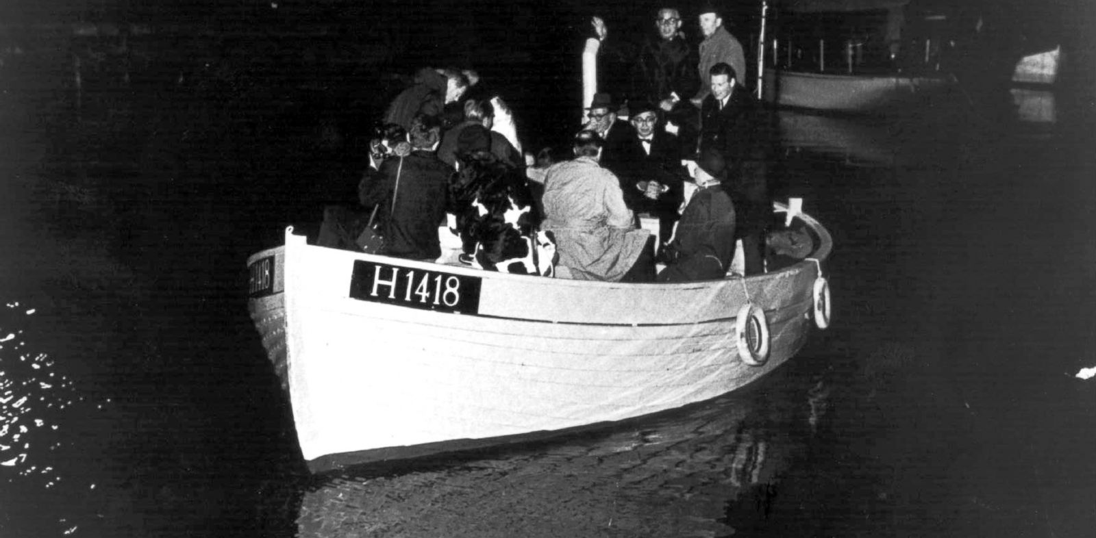 PHOTO: This 1943 photo shows a boat carrying people during the escape across the Oresound of some of 7,000 Danish Jews who fled to safety in neighboring Sweden three years after the German Nazi invasion.