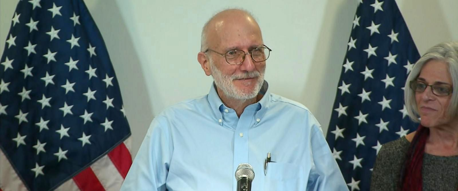 PHOTO: Alan Gross speaks at a press conference at Joint Base Andrews in Md, Dec. 17, 2014.