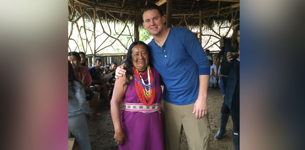 PHOTO: Channing Tatum is shown here with a Kichwa woman during an interview with ABC News Nightline.