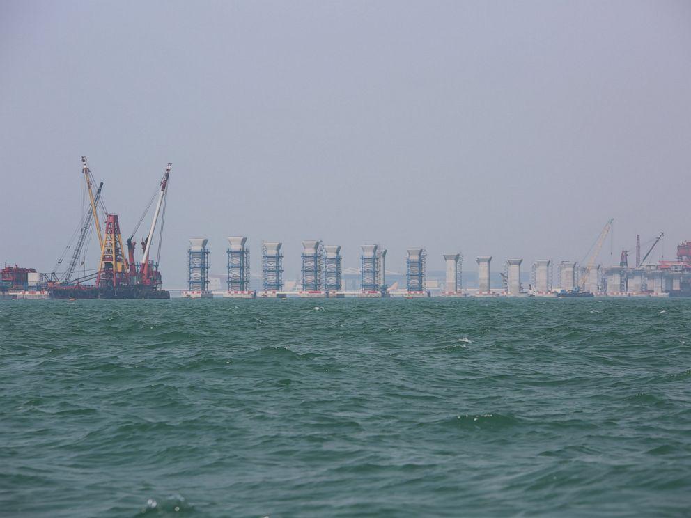 PHOTO: Construction of the 35km bridge under construction between Hong Kong, Macau and Zhuhai spans across the dolphins habitat.