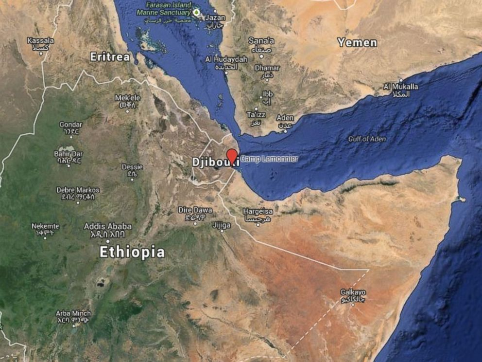 PHOTO: Map showing Camp Lemonnier in Djibouti, Africa.