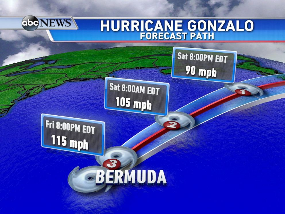 PHOTO: Gonzalo will hit Bermuda today as a Category 3 hurricane.