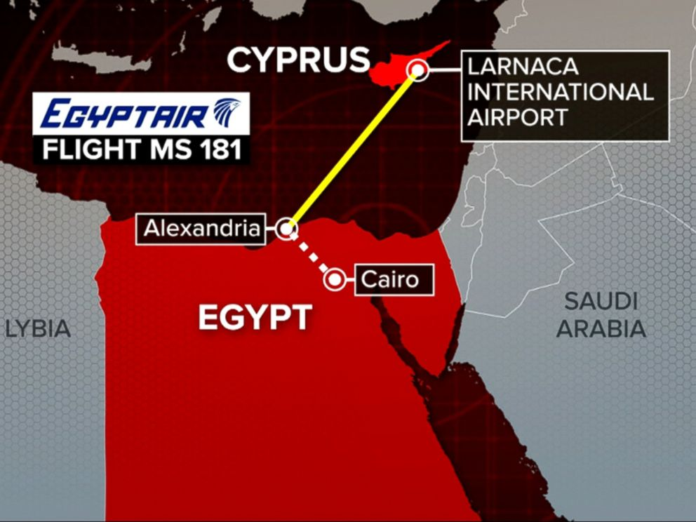 PHOTO: A map shows the route of hijacked EgyptAir Flight 181, March 29, 2016.