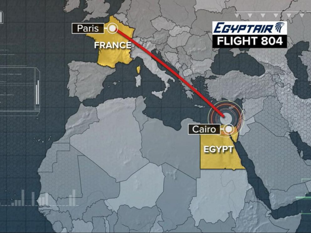 PHOTO: An EgyptAir flight en route to Cairo from Paris disappeared from radar over the Mediterranean Sea about 174 miles from the Egyptian coast.