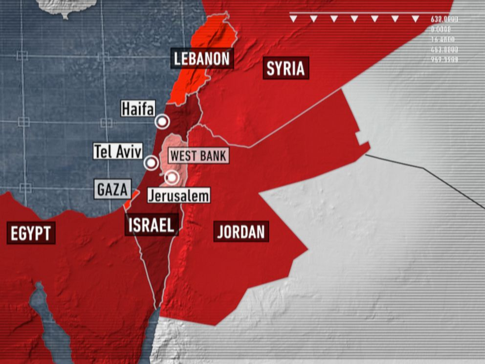 PHOTO: A map of Israel and its surrounding areas.