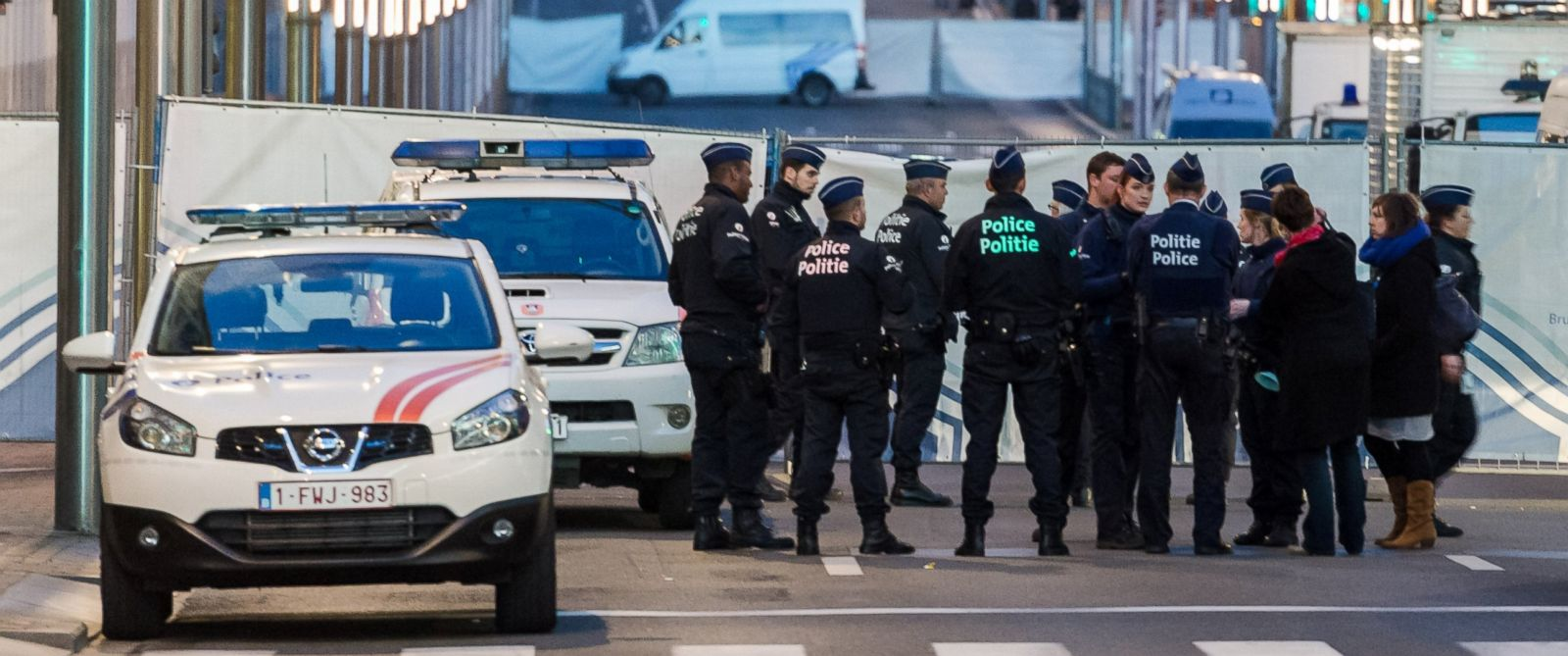 PHOTO: Police stand outside a metro station after an explosion in Brussels on Tuesday, March 22, 2016. Geert Vanden Wijngaert/AP Photo