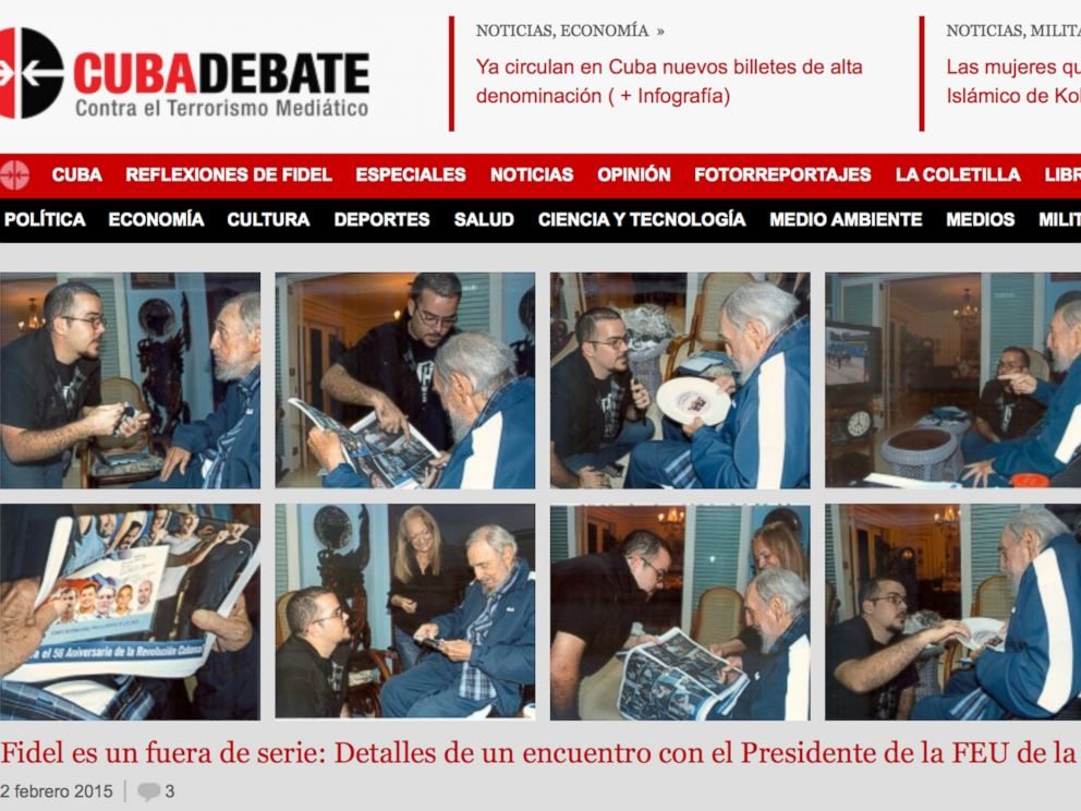 PHOTO: A screenshot of Cubas website Cubadebate shows ten photos of Fidel Castro on their opening page in Havana, Cuba, Feb. 3, 2015.