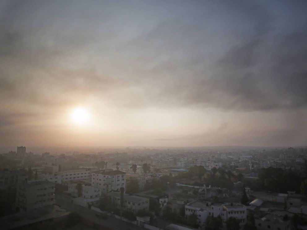 PHOTO: Smoke from Israeli strikes rises over Gaza City, July 29, 2014.
