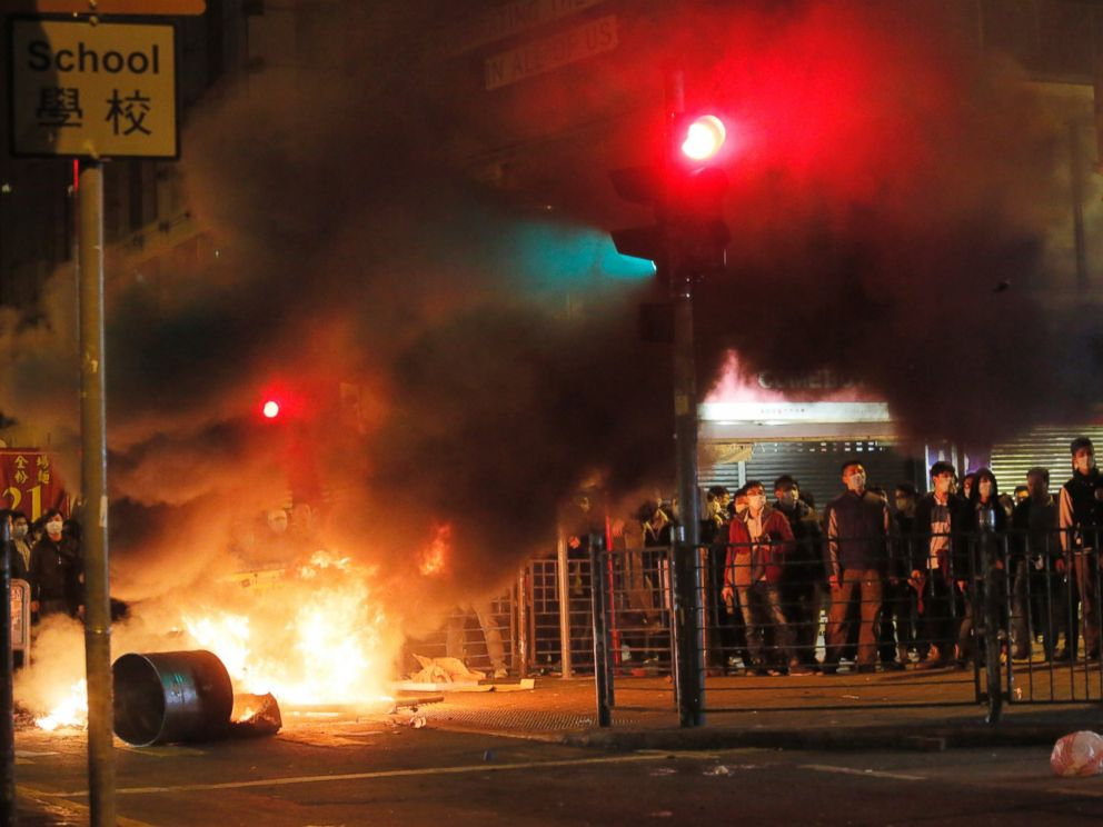 PHOTO: Smoke rises as protesters set fires against police in Mong Kok district of Hong Kong, Feb. 9, 2016.