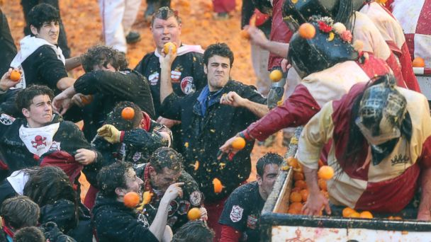 AP Oranges1 140305 16x9 608 Getting Pelted With Oranges Looks Messy (and Fun)