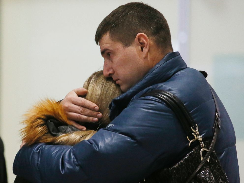 PHOTO: Relatives react after a Russian airliner with 217 passengers and seven crew aboard crashed, as people gather at Russian airline Kogalymavia?s information desk at Pulkovo airport in St.Petersburg, Russia, Saturday, Oct. 31, 2015.