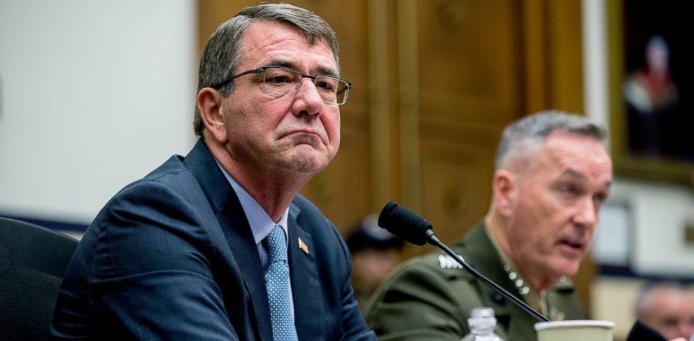 PHOTO: Joint Chiefs Chairman Gen. Joseph Dunford Jr., right, accompanied by Defense Secretary Ash Carter, left, testifies on Capitol Hill in Washington, Dec. 1, 2015.