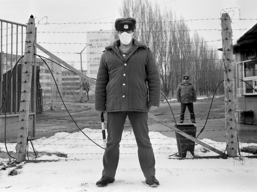 PHOTO: The police guard on their duty the entrance of Pripyat town four kilometers from the Chernobyl power station, March 6, 1989, three years after the nuclear disaster.