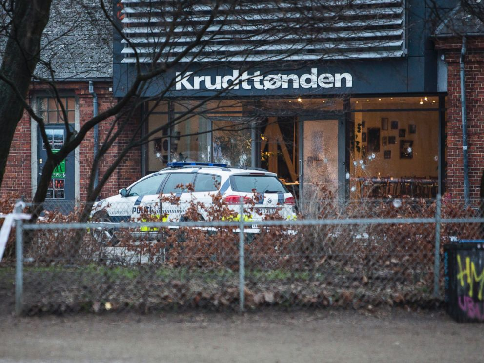 PHOTO: The scene outside the Copenhagen cafe, with bullet marked window, where a gunman opened fire Saturday, Feb. 14, 2015,.