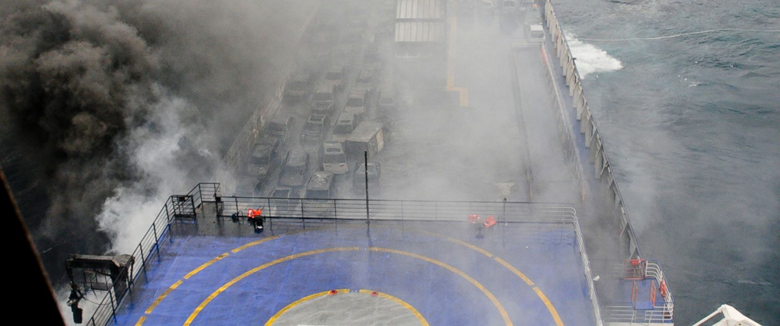 PHOTO: In this image released by the Italian Navy, smoke billows from the Italian-flagged ferry Norman Atlantic that caught fire in the Adriatic Sea, Dec. 28, 2014.