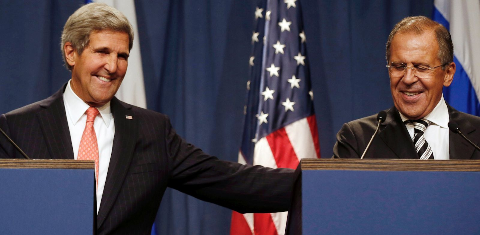 PHOTO: U.S. Secretary of State John Kerry, left, and Russian Foreign Minister Sergei Lavrov, make statements to the media following meetings regarding Syria, at a news conference in Geneva, Switzerland, Saturday Sept. 14, 2013.