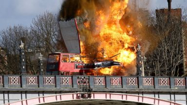 PHOTO: A bus explodes on Lambeth Bridge, during filming for Jackie Chans new film The Foreigner in London, Feb. 7, 2016.