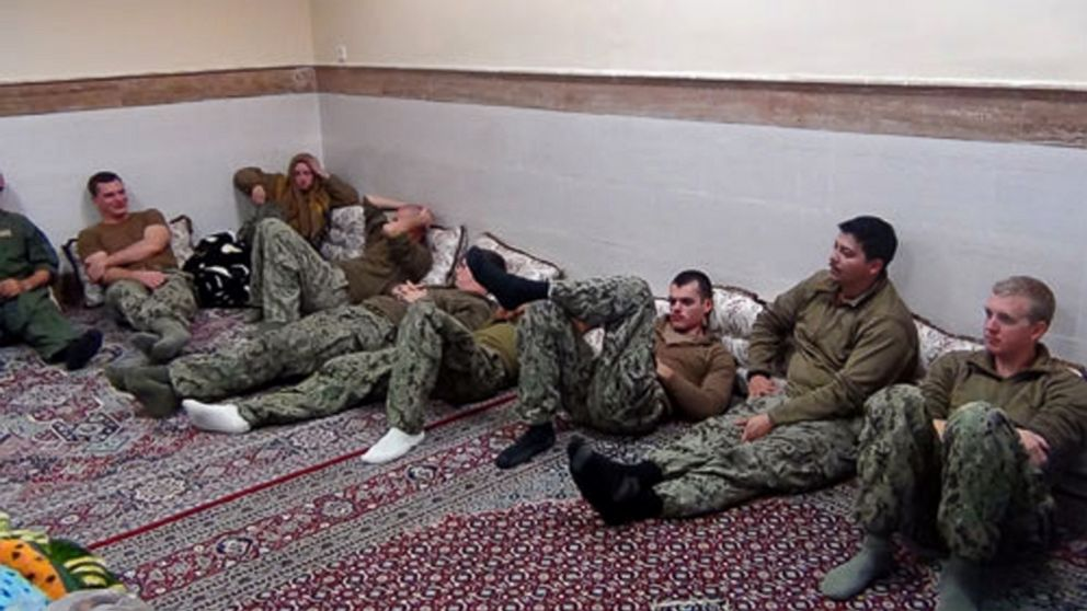 PHOTO: This picture released by the Iranian Revolutionary Guards, Jan. 13, 2016, shows detained American Navy sailors in an undisclosed location in Iran.
