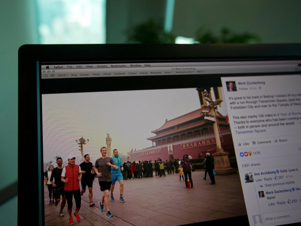 PHOTO: A computer screen displays the social media posting by Mark Zuckerberg on Facebook in Beijing, China, March 18, 2016.