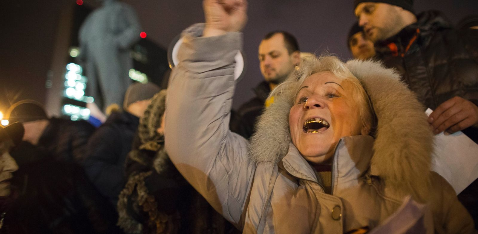 PHOTO: Pro-Russia protesters shout slogans during a small demonstration in Donetsk, eastern Ukraine, Feb. 26, 2014.