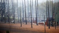 PHOTO: A burned out house is surrounded by charred ground and trees following a natural gas explosion at a pipeline complex, April 29, 2016, in Salem Township, Pa.