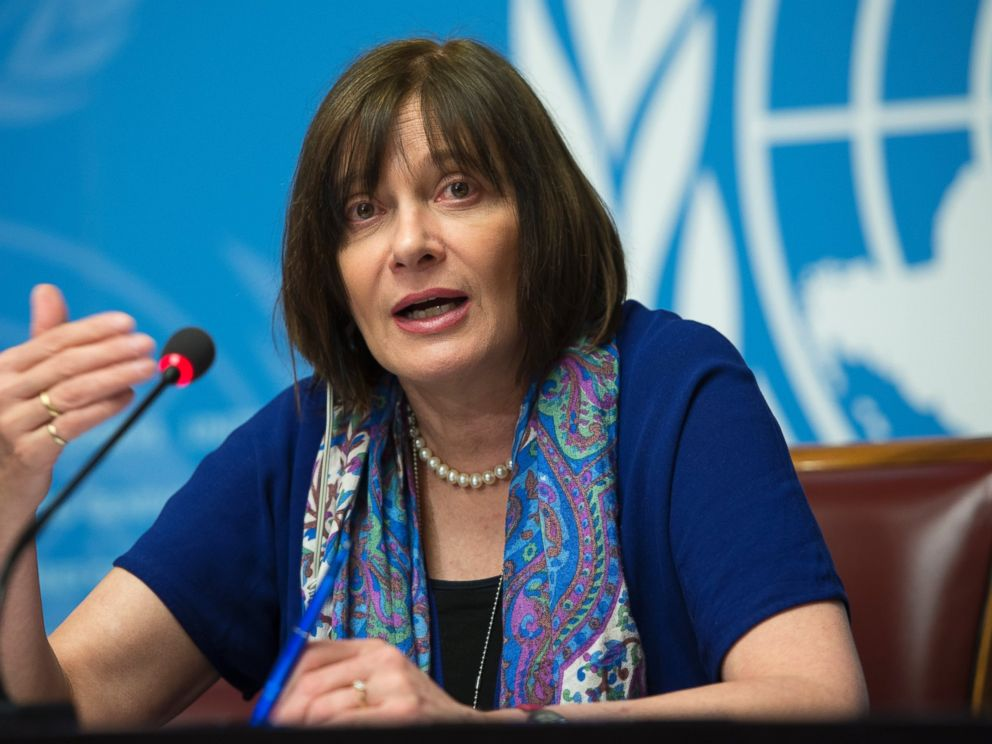 PHOTO: Marie-Paule Kieny, Assistant Director-General, Health Systems and Innovation, of World Health Organization, WHO, speaks during a press conference at the European headquarters of the United Nations, in Geneva, Switzerland, Feb. 12, 2016.