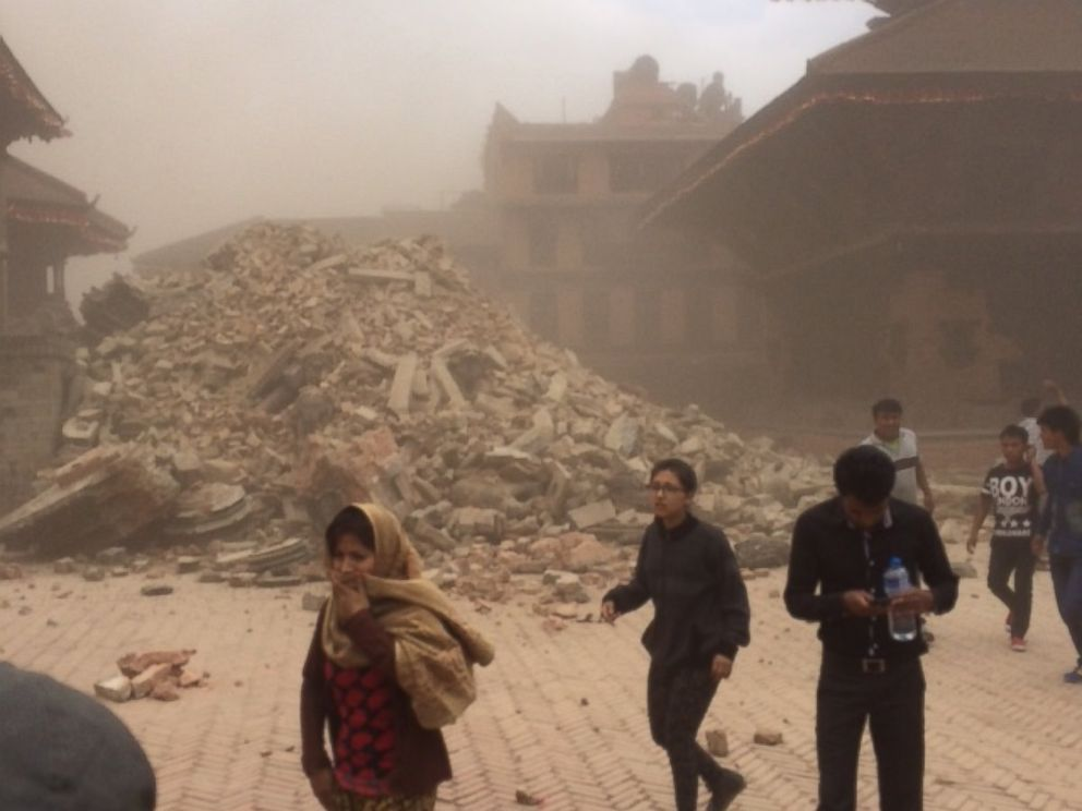 PHOTO: Damage in Bhaktapur, an old city just outside Kathmandu, after an earthquake strikes Nepal.