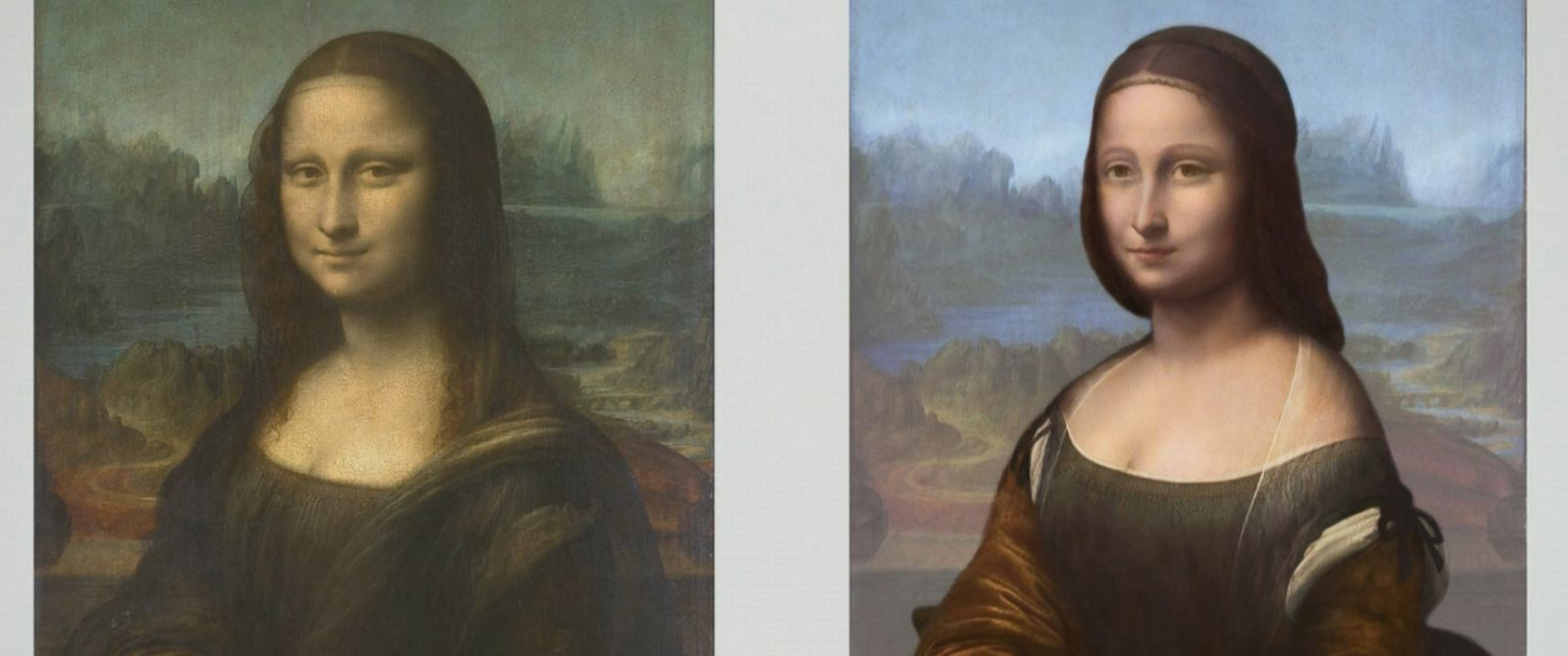 PHOTO: The Mona Lisa, left, and the hidden portrait which Pascal Cotte claims to have found.