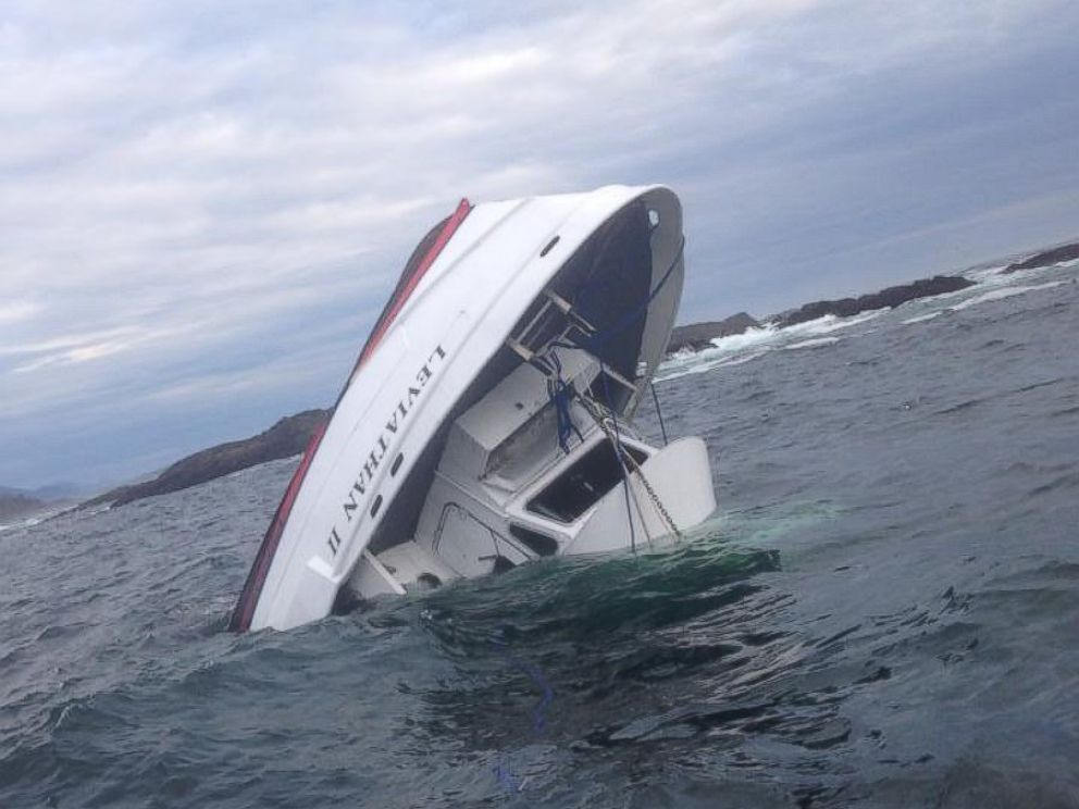 PHOTO: Whale-watching tour boat The Leviathon II is seen partially submerged off the coast of British Columbia.