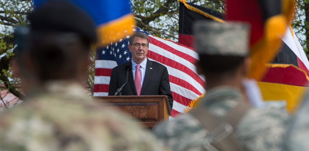 PHOTO: US Secretary of Defense Ashton Carter speaks during the change of command of the United States European Command at the Patch Barracks in Stuttgart, Germany, May 3, 2016.