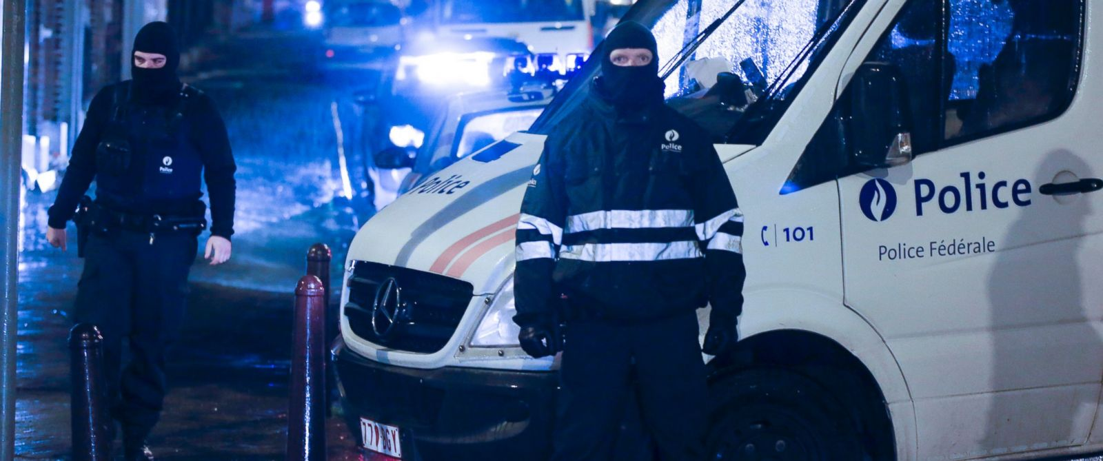 PHOTO: Riot police block the street of Colline in Vervier Eastern Belgium, Jan. 15, 2015, after an anti terrorist operation.