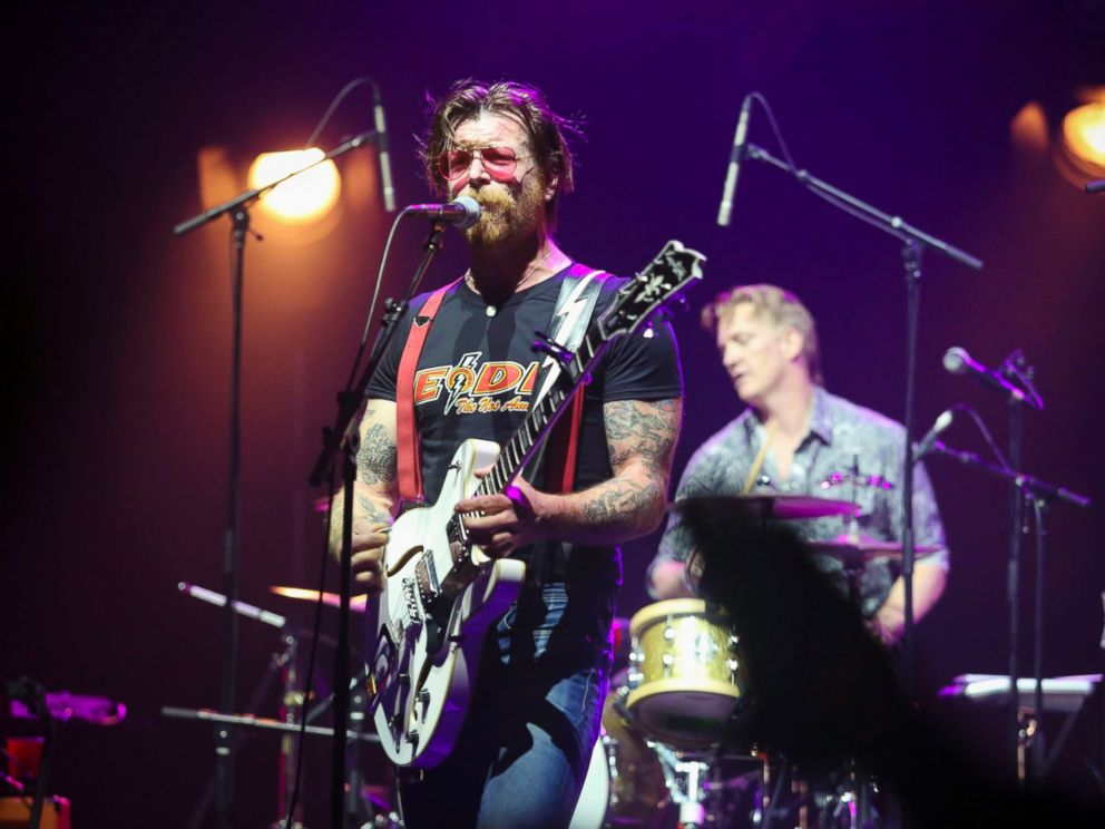 PHOTO: Jesse Hughes, the lead singer of the band Eagles of Death Metal, performs during a concert at the Olympia music venue in Paris, Feb. 16, 2016.