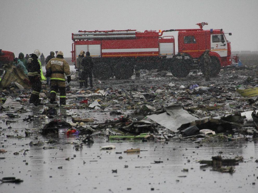 FlyDubai crash: Aerials show devastation of plane crash in Russia