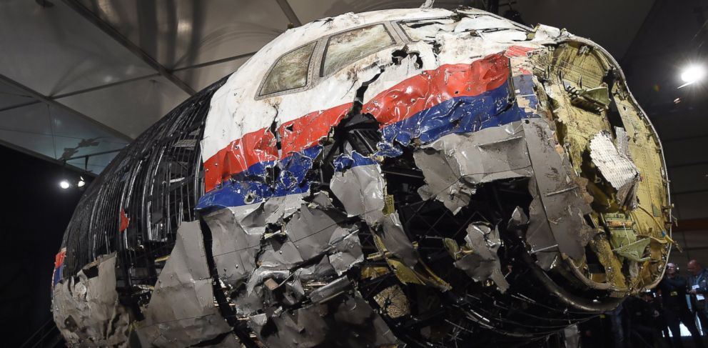 PHOTO: The wrecked cockpit of the Malaysia Airlines flight MH17 is presented to the press during a presentation of the final report on the cause of its crash at the Gilze Rijen airbase in The Netherlands on Oct. 13, 2015.