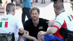 PHOTO: Prince Harry meets Italian athletes as he visits venues ahead of the Invictus Games Orlando 2016 at ESPN Wide World of Sports on May 6, 2016 in Orlando, Florida
